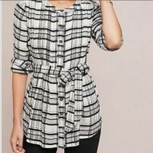 Anthropologie Plaid Belted Waist Blouse
